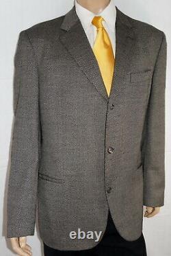 46L HUGO BOSS Einstein Blazer Men 46 Brown Nailhead Sport Coat Suit Jacket