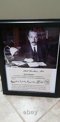 Albert Einstein Authentic Hand Signed Autograph -Dated -Framed
