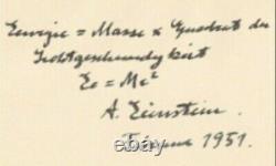 Albert Einstein Autografo Originale