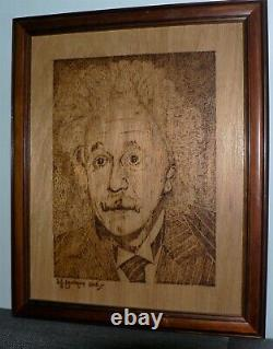 Albert Einstein. By Don Bradmore. Pyrography. Poker Art Wood Burning