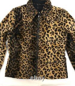 Bray Steve Alan einstein FAUX Fur Leopard& black women jacket size L DOUBLE WEAR