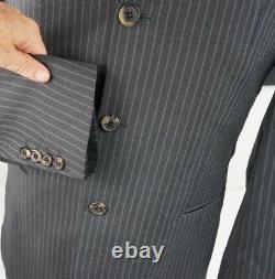 HUGO BOSS Men Einstein Gray Pinstripe Suit US Jacket 38 Pant 32 Waist, 30 Inseam