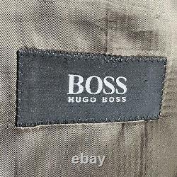 Hugo Boss 46L Einstein Omega Suit 40x33 Pleated Brown Striped Wool Three Button