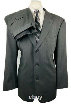 Hugo Boss Einstein Mens 46R Gray Wool 2 Piece Suit With Dress Pants 38Wx32L