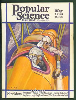 Popular Science May 1929 Eclipse will check Einstein DeForest Art Deco Cover
