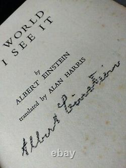 RARE Albert Einstein signed autographed Book 1935 Edition The World As I See It