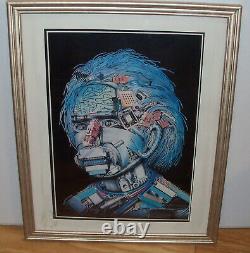 Rare Vintage ALBERT EINSTEIN POSTER by WOJTEK SIUDMAK 18x21 Frame ROBOT HEAD