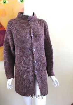 Sally Melville Einstein Coat Purple Hand-Knit Art Modernist Long Sweater S M