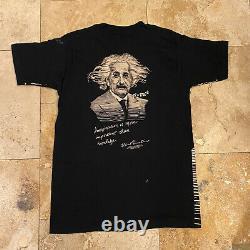 Vintage Albert Einstein All Over Print AOP T-Shirt 90s Size Medium Single Stitch
