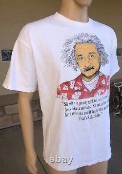 Vintage Albert Einstein Relativity Humor Single Stitch T Shirt All Sport USA XL