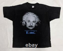 1990 Albert Einstein XL T-shirt Noir Vtg Point Unique E=mc2 Science Physique
