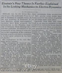 1-1929 24 Janvier Einstein Nouvelle Théorie Explained Fried Saves Crew Florida Whalen