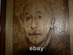 Albert Einstein. Par Don Bradmore. Pyrographie. Poker Art Wood Burning