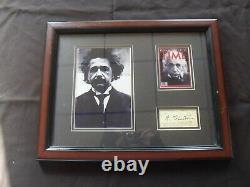 Albert Einstein Signature Cut Autograph 2 X 4 Avec Rotogravure Photo Montée