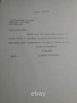 Lettre D'albert Einstein À Mon Père Le 17 Mars 1954