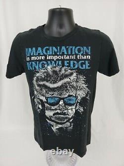 Mens Albert Einstein Black T Shirt Small Imagination Euc Pré-détenue
