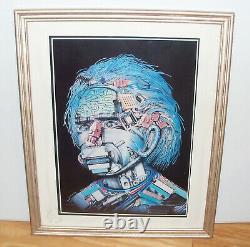 Rare Vintage Albert Einstein Poster Par Wojtek Siudmak 18x21 Frame Robot Head
