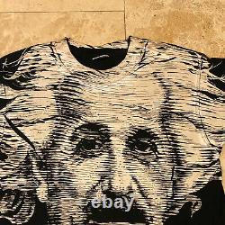 Vintage Albert Einstein All Over Imprimer T-shirt Aop 90s Taille Moyen Point Unique