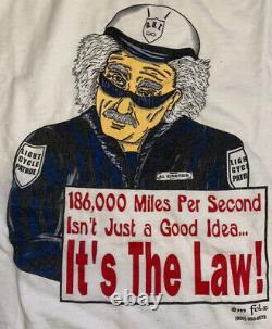 Vintage Albert Einstein Relativité Humor T-shirt À Maille Unique Tous Sport USA L