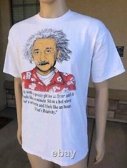 Vintage Albert Einstein Relativity Humour Single Stitch T Shirt All Sport USA XL
