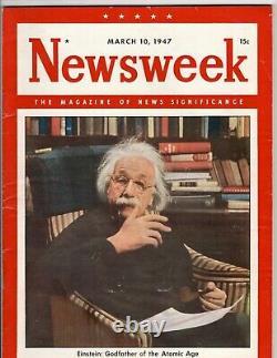 Vintage Newsweek Magazine 10 Mars 1947 Albert Einstein Parrain De L'âge Atomique