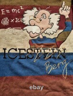 Vtg Années 90 Og Iceberg History Icestein Albert Einstein Knit Sweater Rare Size L